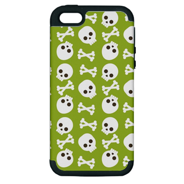 Skull Bone Mask Face White Green Apple iPhone 5 Hardshell Case (PC+Silicone)