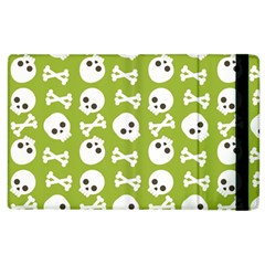 Skull Bone Mask Face White Green Apple Ipad 2 Flip Case