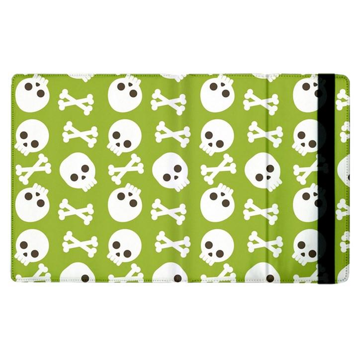 Skull Bone Mask Face White Green Apple iPad 2 Flip Case