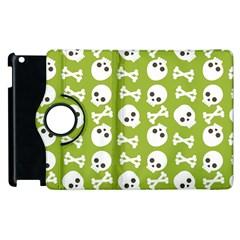 Skull Bone Mask Face White Green Apple Ipad 3/4 Flip 360 Case