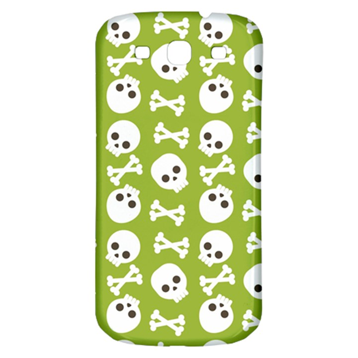 Skull Bone Mask Face White Green Samsung Galaxy S3 S III Classic Hardshell Back Case