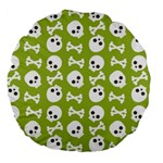 Skull Bone Mask Face White Green Large 18  Premium Round Cushions Back