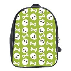 Skull Bone Mask Face White Green School Bag (xl)