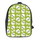 Skull Bone Mask Face White Green School Bag (XL) Front