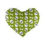 Skull Bone Mask Face White Green Standard 16  Premium Heart Shape Cushions Front