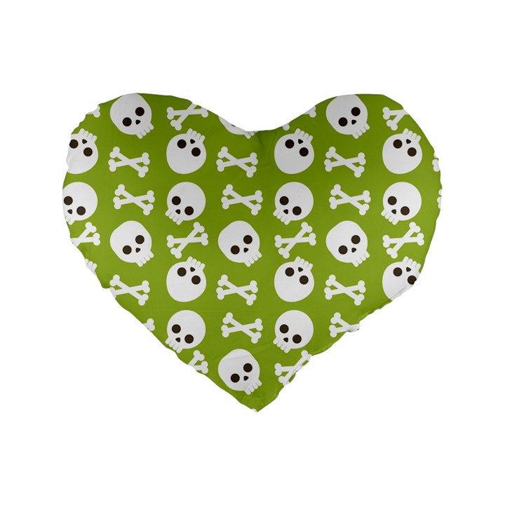 Skull Bone Mask Face White Green Standard 16  Premium Heart Shape Cushions