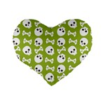 Skull Bone Mask Face White Green Standard 16  Premium Heart Shape Cushions Back