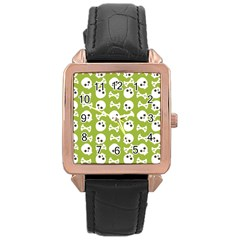 Skull Bone Mask Face White Green Rose Gold Leather Watch