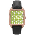 Skull Bone Mask Face White Green Rose Gold Leather Watch  Front