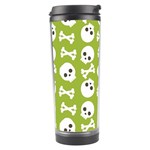 Skull Bone Mask Face White Green Travel Tumbler Left