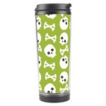 Skull Bone Mask Face White Green Travel Tumbler Center