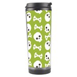 Skull Bone Mask Face White Green Travel Tumbler Right