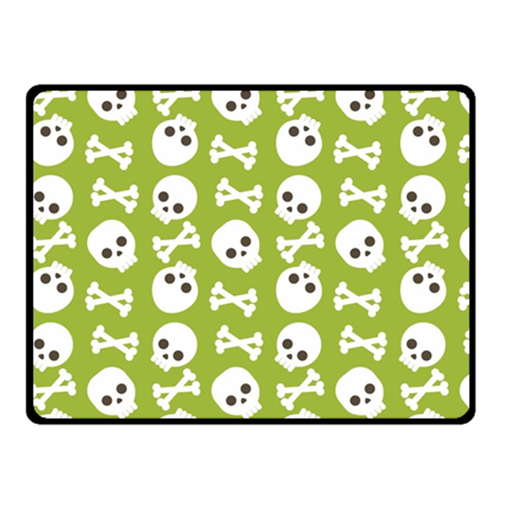 Skull Bone Mask Face White Green Double Sided Fleece Blanket (Small)