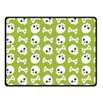 Skull Bone Mask Face White Green Double Sided Fleece Blanket (Small)  50 x40 Blanket Back