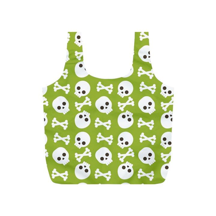Skull Bone Mask Face White Green Full Print Recycle Bags (S)