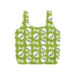 Skull Bone Mask Face White Green Full Print Recycle Bags (S)  Back