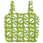 Skull Bone Mask Face White Green Full Print Recycle Bags (L)  Back