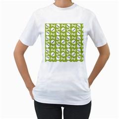 Skull Bone Mask Face White Green Women s T Shirt (white)