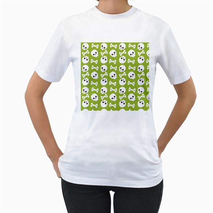 Skull Bone Mask Face White Green Women s T-Shirt (White)