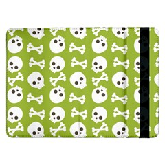 Skull Bone Mask Face White Green Samsung Galaxy Tab Pro 12 2  Flip Case