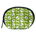 Skull Bone Mask Face White Green Accessory Pouches (Medium)  Front