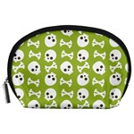 Skull Bone Mask Face White Green Accessory Pouches (Large)  Front