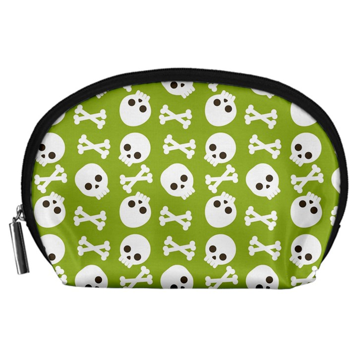 Skull Bone Mask Face White Green Accessory Pouches (Large)
