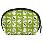 Skull Bone Mask Face White Green Accessory Pouches (Large)  Back