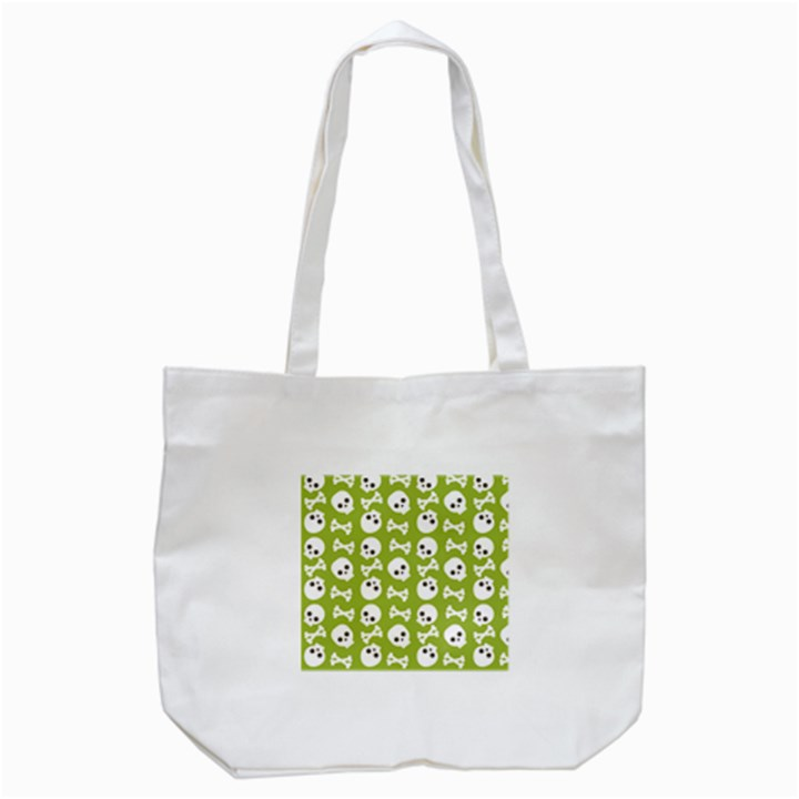 Skull Bone Mask Face White Green Tote Bag (White)