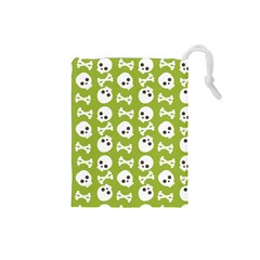 Skull Bone Mask Face White Green Drawstring Pouches (small)