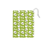 Skull Bone Mask Face White Green Drawstring Pouches (Small)  Front