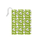 Skull Bone Mask Face White Green Drawstring Pouches (Small)  Back