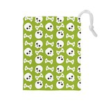 Skull Bone Mask Face White Green Drawstring Pouches (Large)  Front