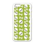 Skull Bone Mask Face White Green Apple iPhone 6/6S White Enamel Case Front