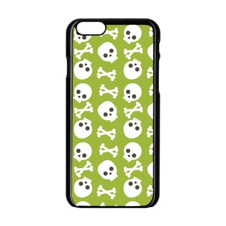 Skull Bone Mask Face White Green Apple iPhone 6/6S Black Enamel Case