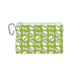 Skull Bone Mask Face White Green Canvas Cosmetic Bag (S) Front