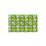 Skull Bone Mask Face White Green Cosmetic Bag (XS) Front