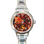 Lava Active Volcano Nature Round Italian Charm Watch Front