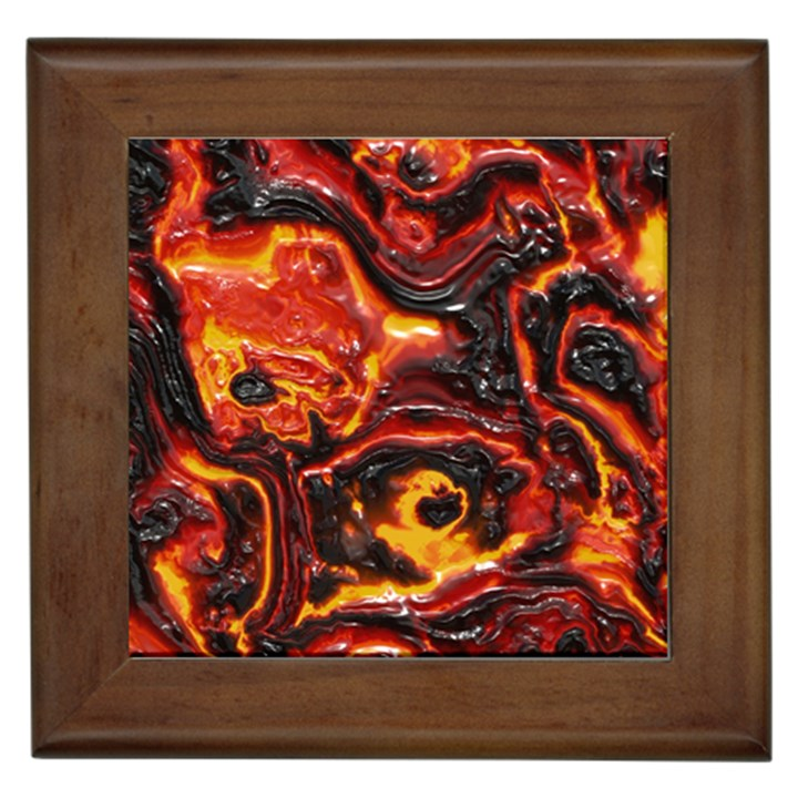 Lava Active Volcano Nature Framed Tiles