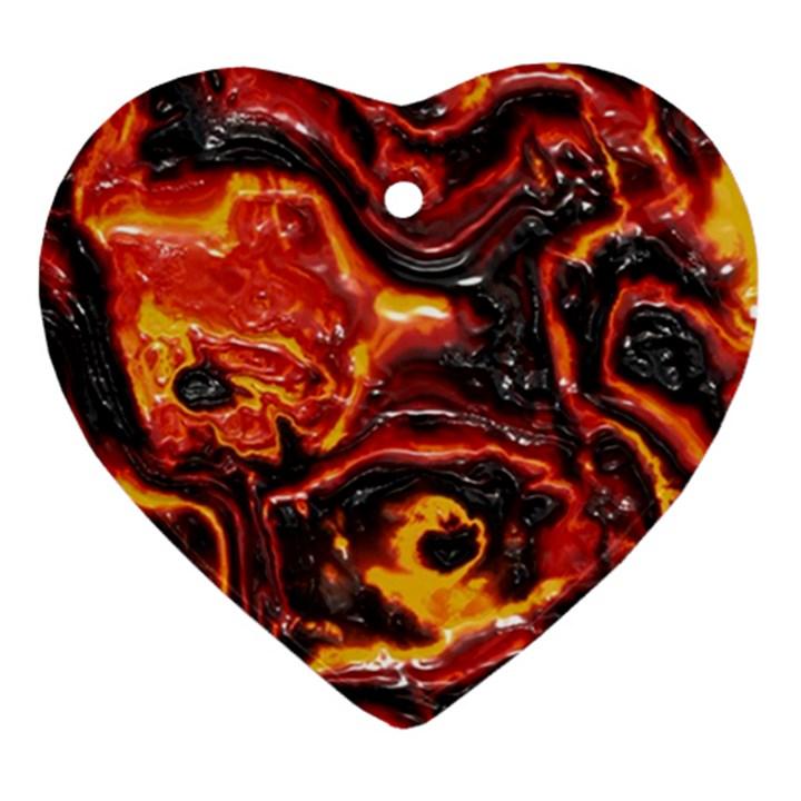 Lava Active Volcano Nature Ornament (Heart)