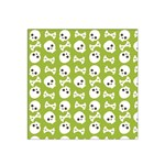 Skull Bone Mask Face White Green Satin Bandana Scarf Front