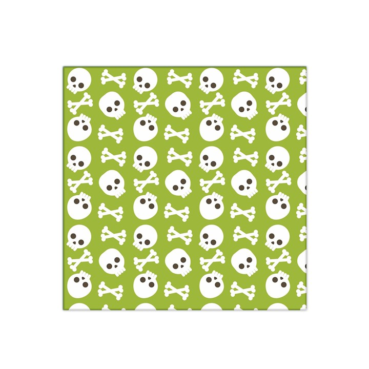 Skull Bone Mask Face White Green Satin Bandana Scarf