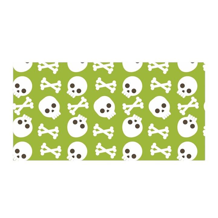 Skull Bone Mask Face White Green Satin Wrap