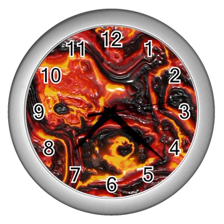 Lava Active Volcano Nature Wall Clocks (Silver)