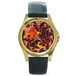 Lava Active Volcano Nature Round Gold Metal Watch Front