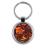 Lava Active Volcano Nature Key Chains (Round)  Front