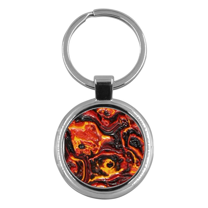 Lava Active Volcano Nature Key Chains (Round)