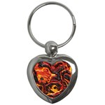 Lava Active Volcano Nature Key Chains (Heart)  Front