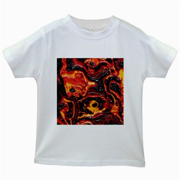 Lava Active Volcano Nature Kids White T-Shirts