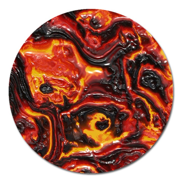 Lava Active Volcano Nature Magnet 5  (Round)